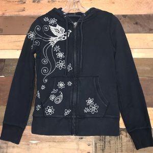 Lucky Brand Embroidered Zip-Up Hoodie Sweatshirt